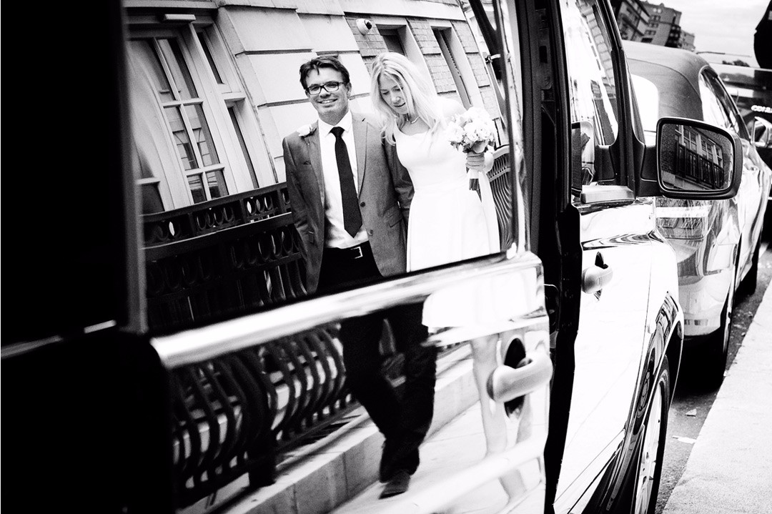 Mayfair wedding bride and groom near Dorchester hotel in Park Lane, Mayfair