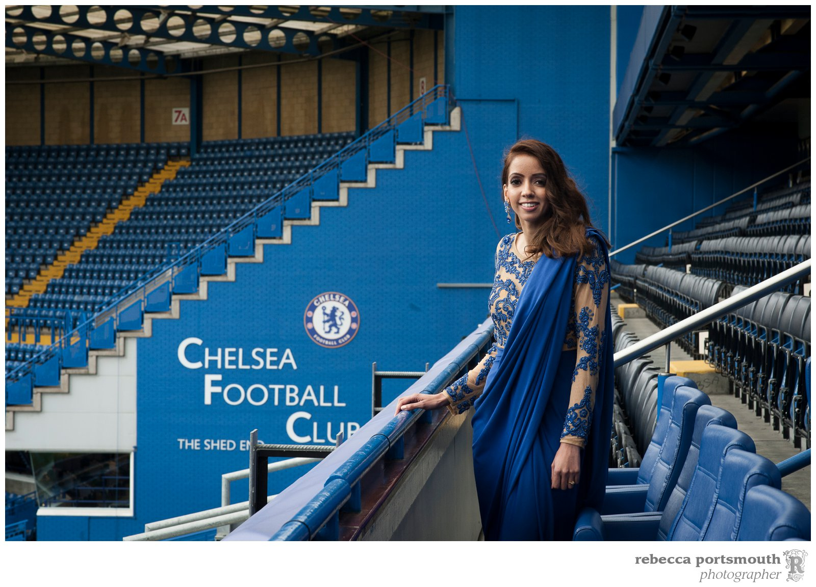 Portraits of the bride in the stands at her Chelsea Football Club wedding