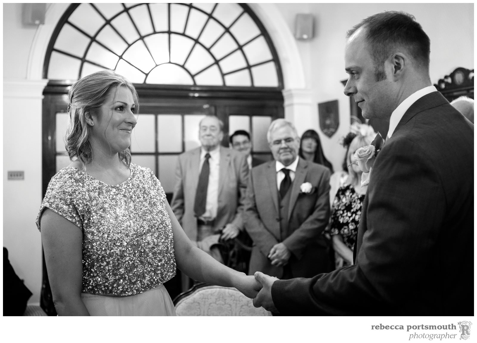 The Chelsea Registry Office wedding photos of Victoria + Dominic: their exchange of vows and rings in the Rossetti Room