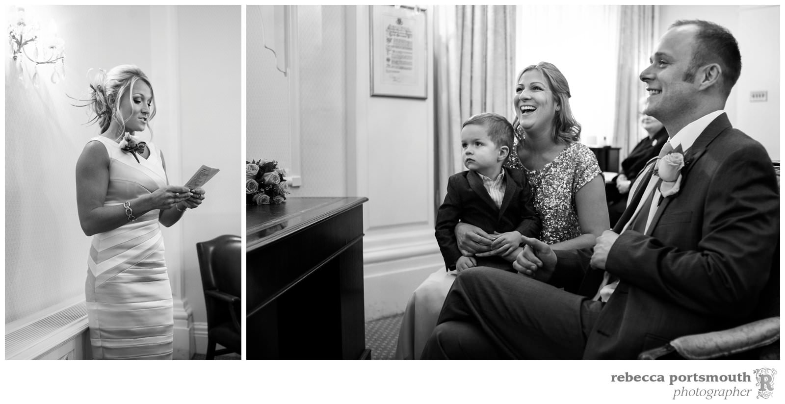 The Chelsea Registry Office wedding photos of Victoria + Dominic: - a reading by Dominic's sister and their reactions.
