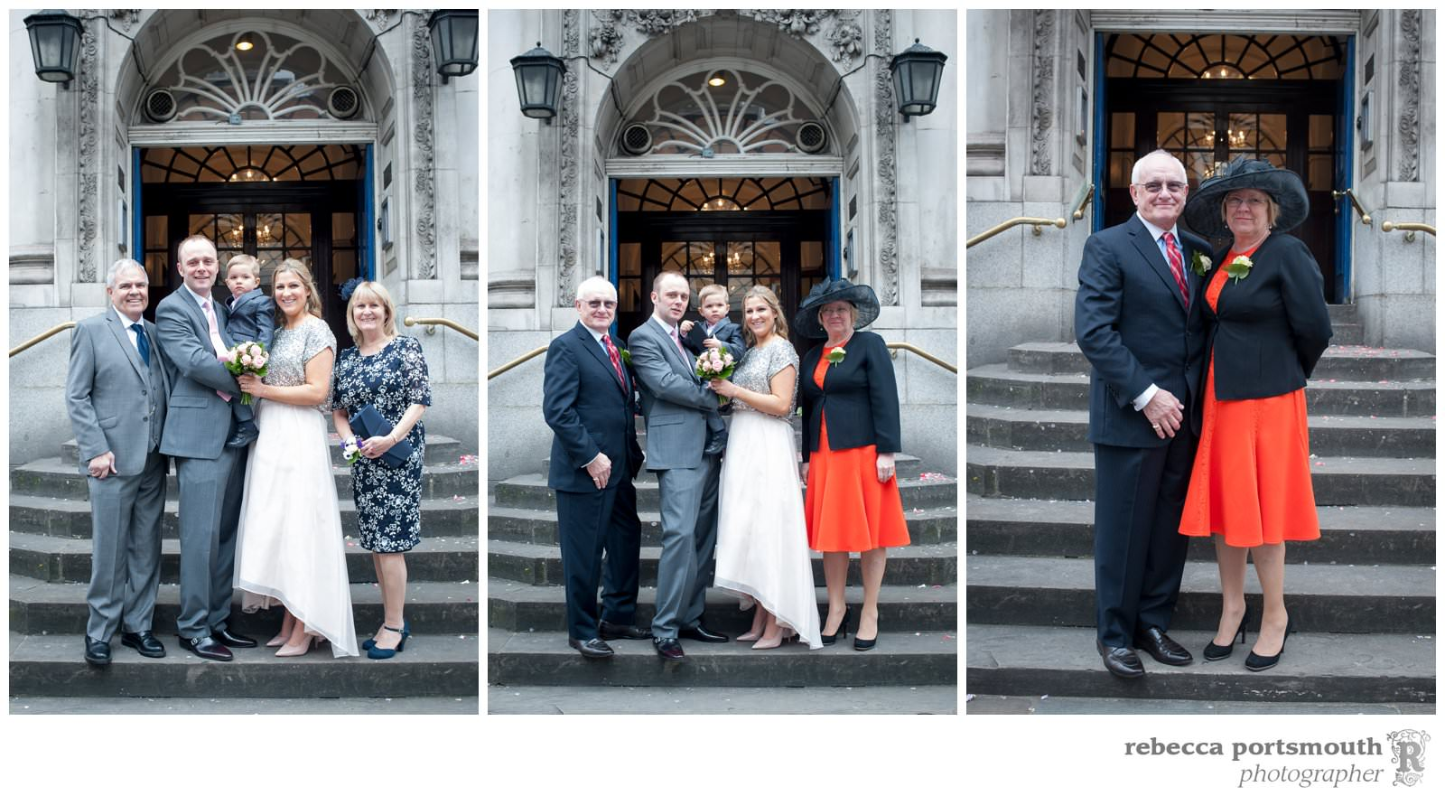 The Chelsea Registry Office wedding photos of Victoria + Dominic: family portraits and wedding groups on the steps of Old Chelsea Town Hall