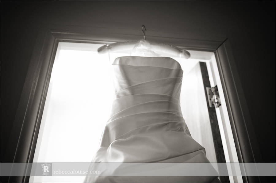 Devonport House wedding preparations: a bridal gown waits ready for the bride to step into it