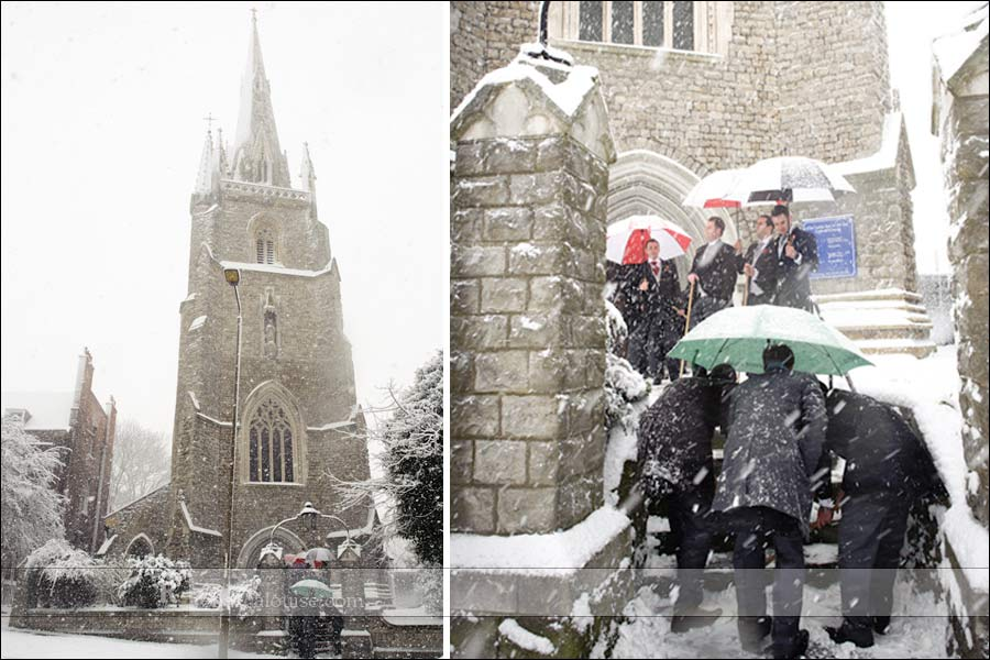 Star of the Sea Church wedding in the snow on Crooms Hill