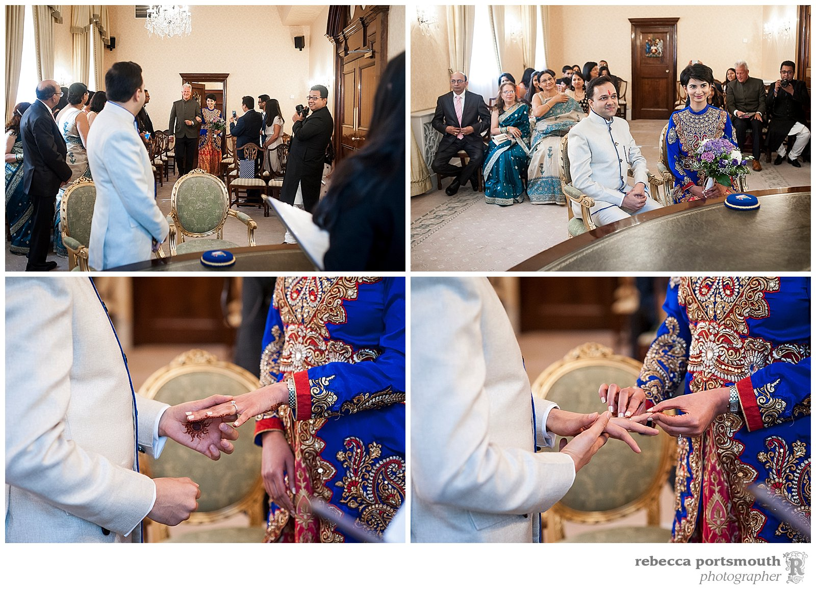 The Chelsea wedding photos of Pooja + Ankit at Chelsea Register Office's Brydon Room, including the bride and groom exchanging rings.
