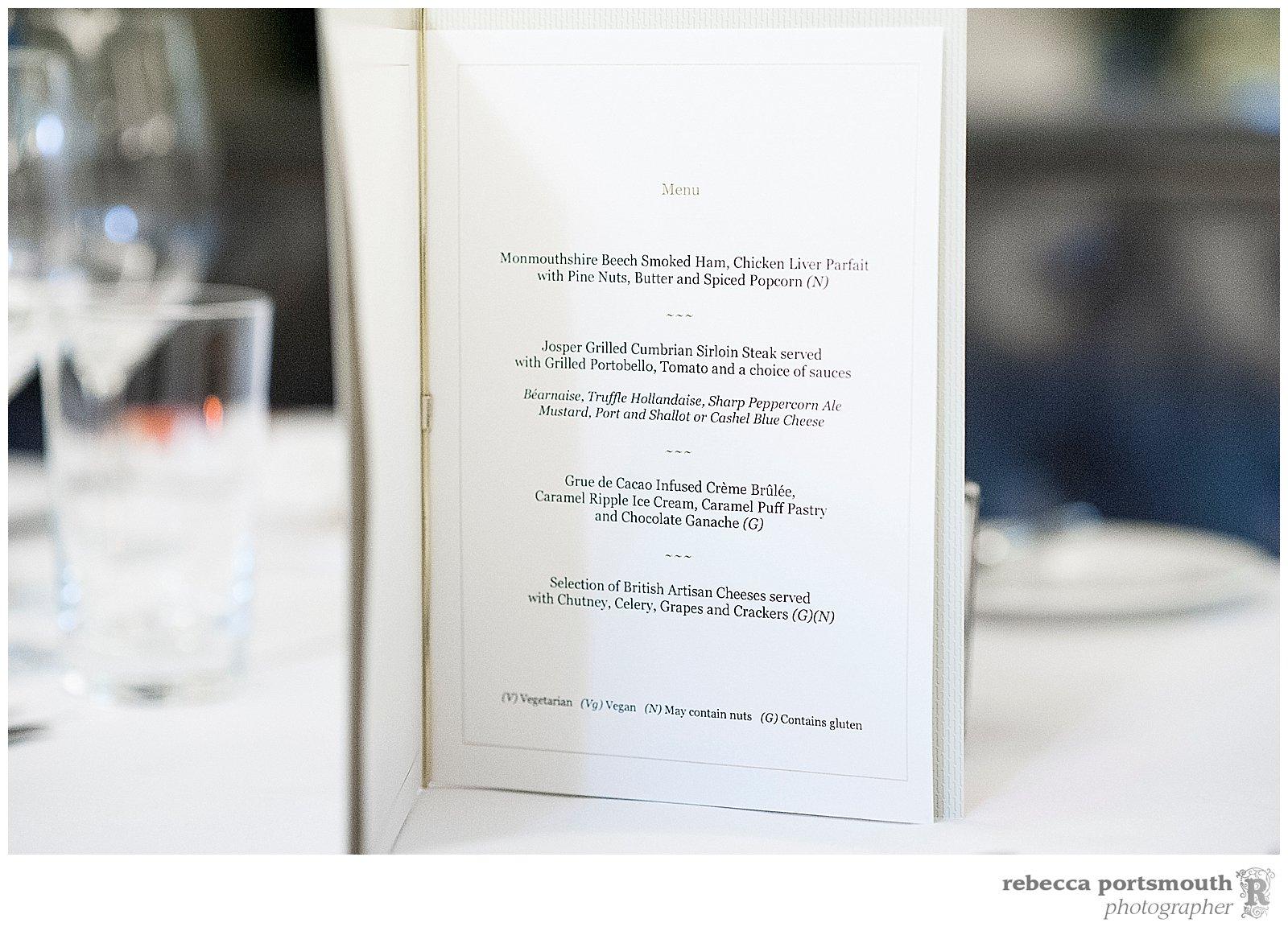 A wedding menu at the Corinthia Hotel, London.