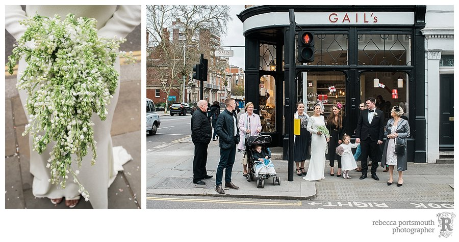 Bride, groom and their families walk along Kings Road from Chelsea Old Town Hall to Bluebird Club for their wedding reception.