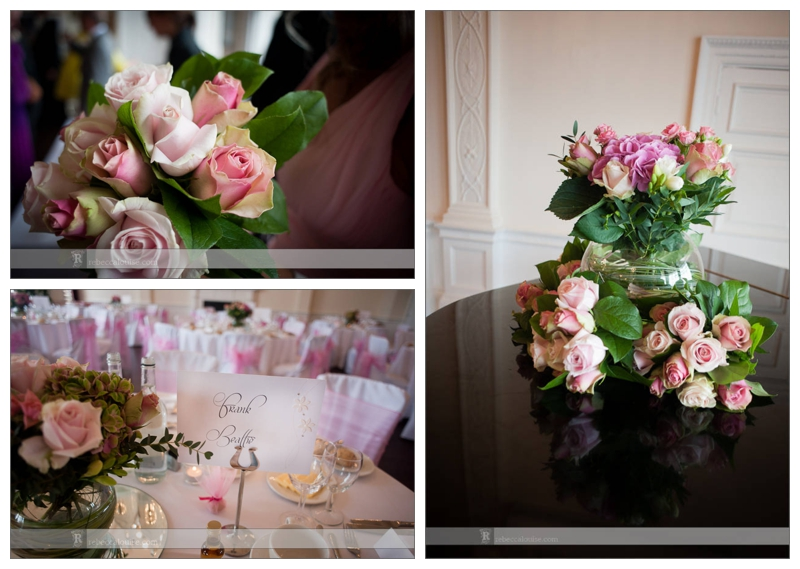 Pink roses decorate the Trafalgar Tavern for the summer wedding of Jane and Ian.