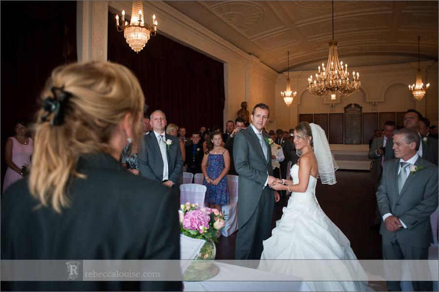 A bride and groom during their summer Trafalgar Tavern wedding, officiated by Greenwich registrars