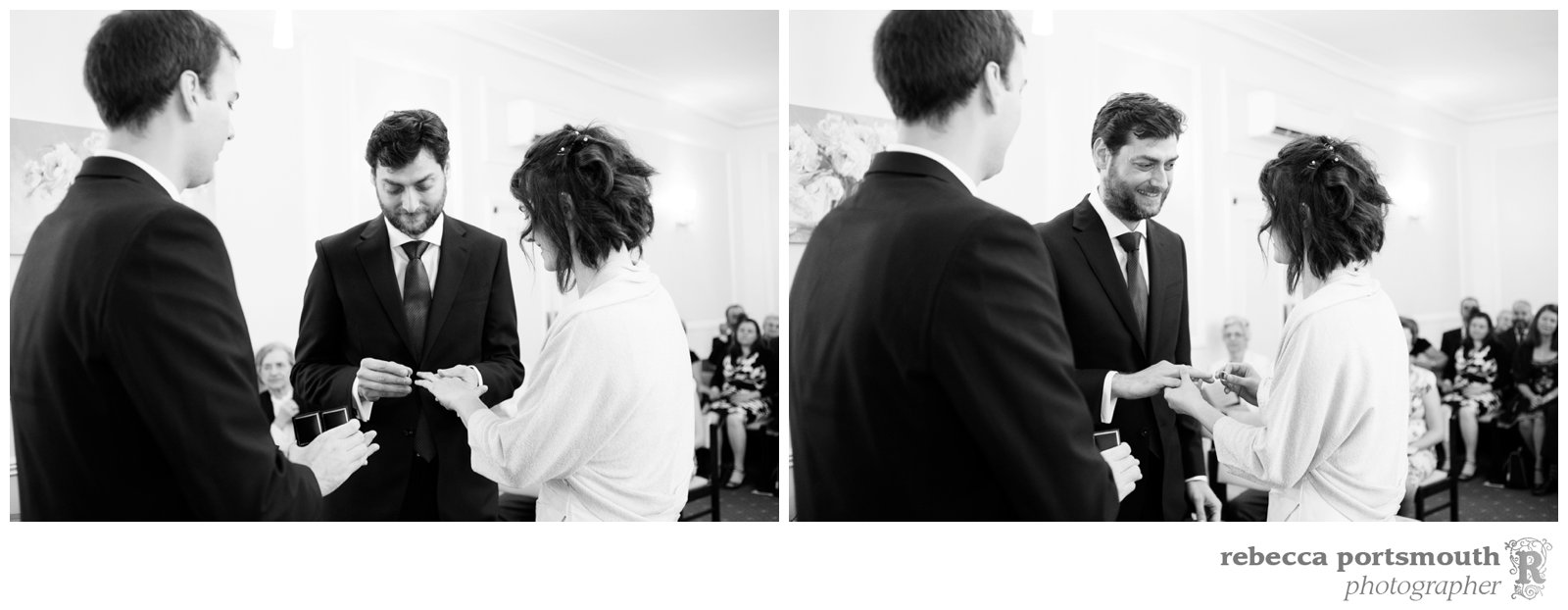 Bride and groom exchange rings at Cambridge Register Office civil wedding ceremony.
