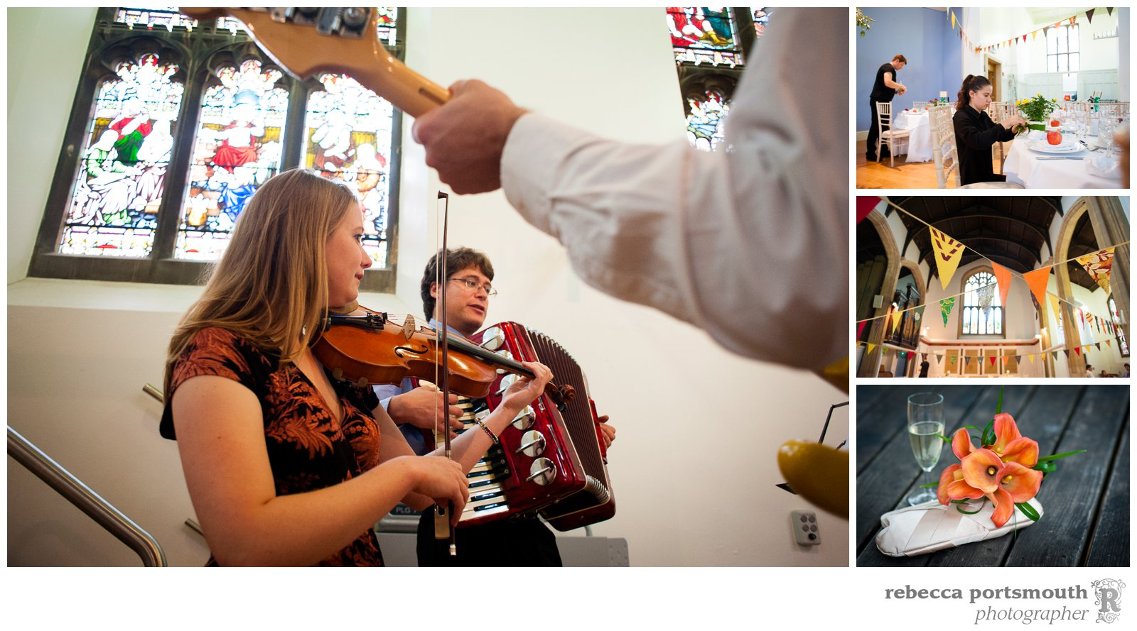 Friends of the bride and groom play music to entertain guests at this Cambridge wedding.