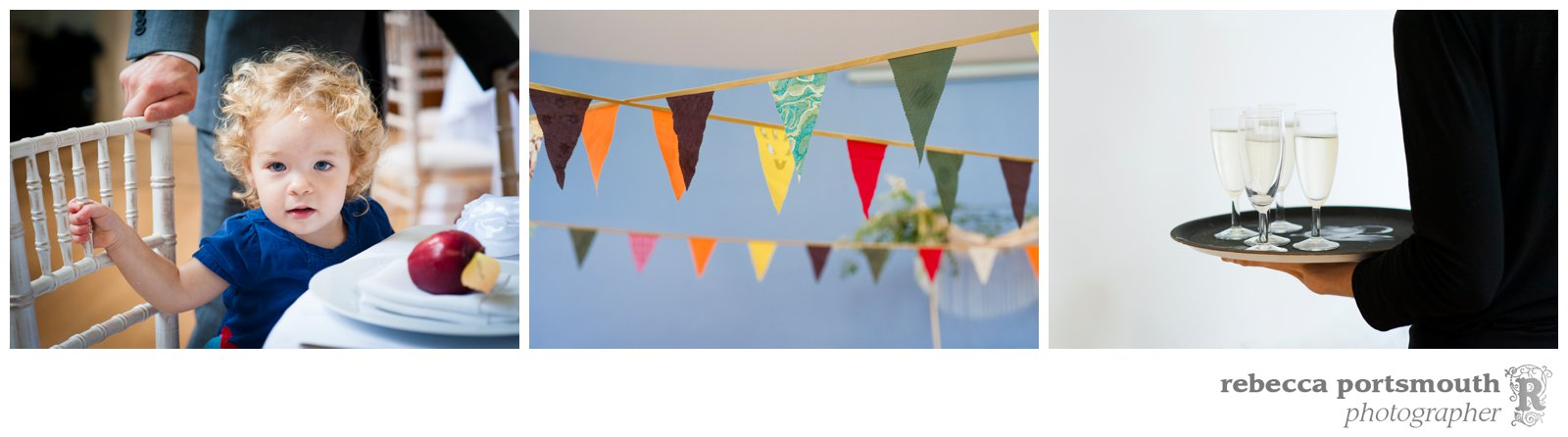 Autumnal bunting made by the bride and her friends decorates their wedding breakfast at their homemade wedding.