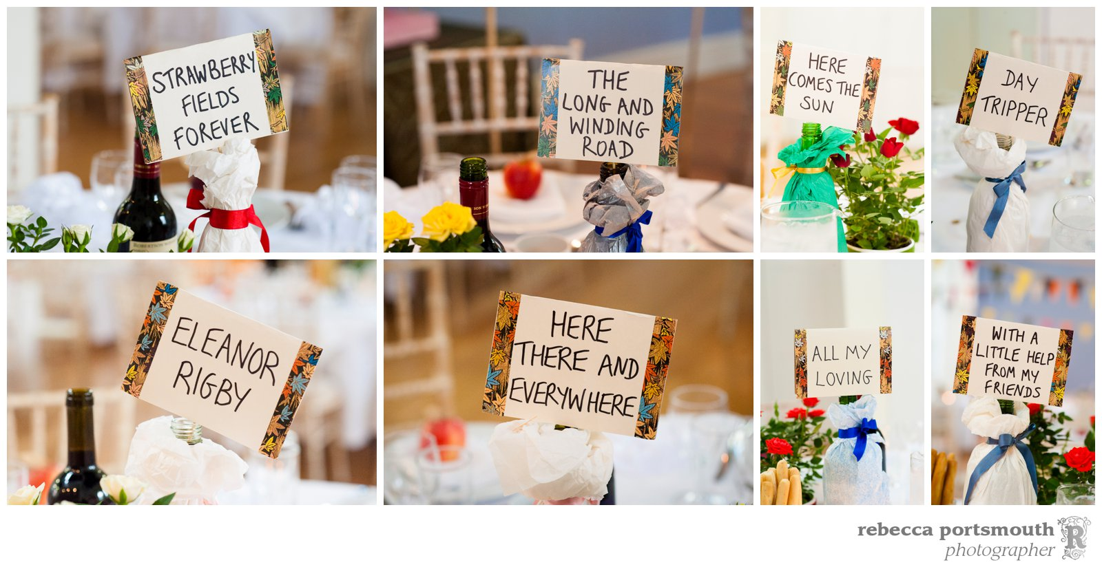 Beatles songs feature as table names at this handmade wedding in Cambridge.