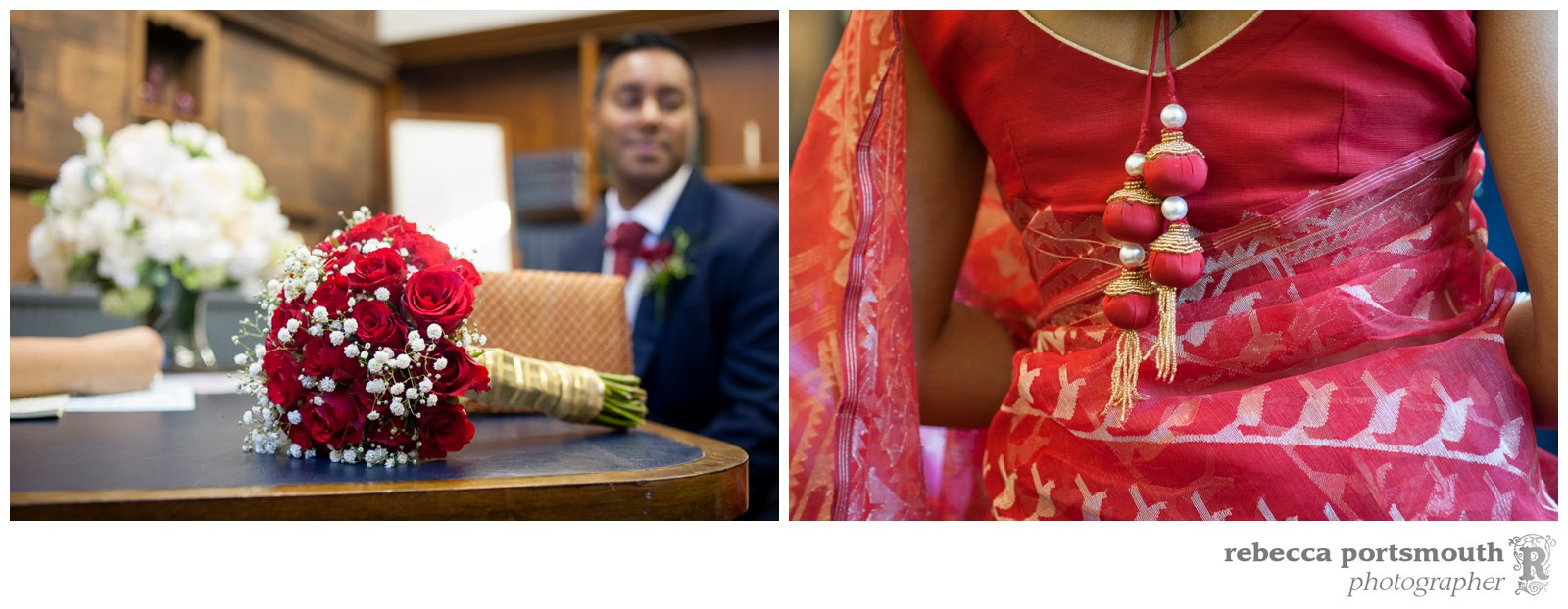 A red rose and gypsophila wedding bouquet + red wedding sari at the Marylebone Room wedding of Tas + Ravi.