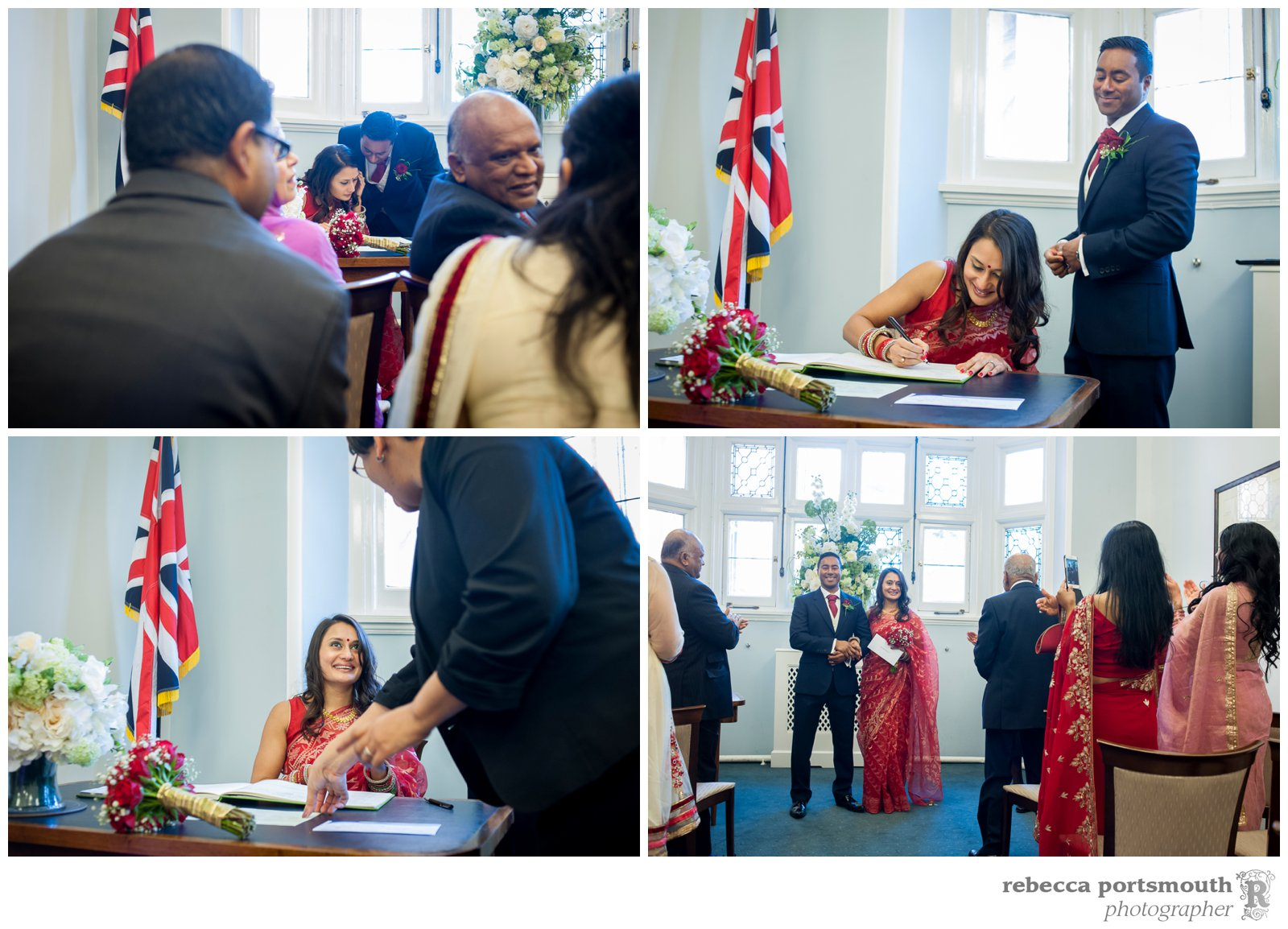 The bride and groom sign the register in front of their friends and family at their Mayfair Library wedding ceremony in Mayfair, central London.