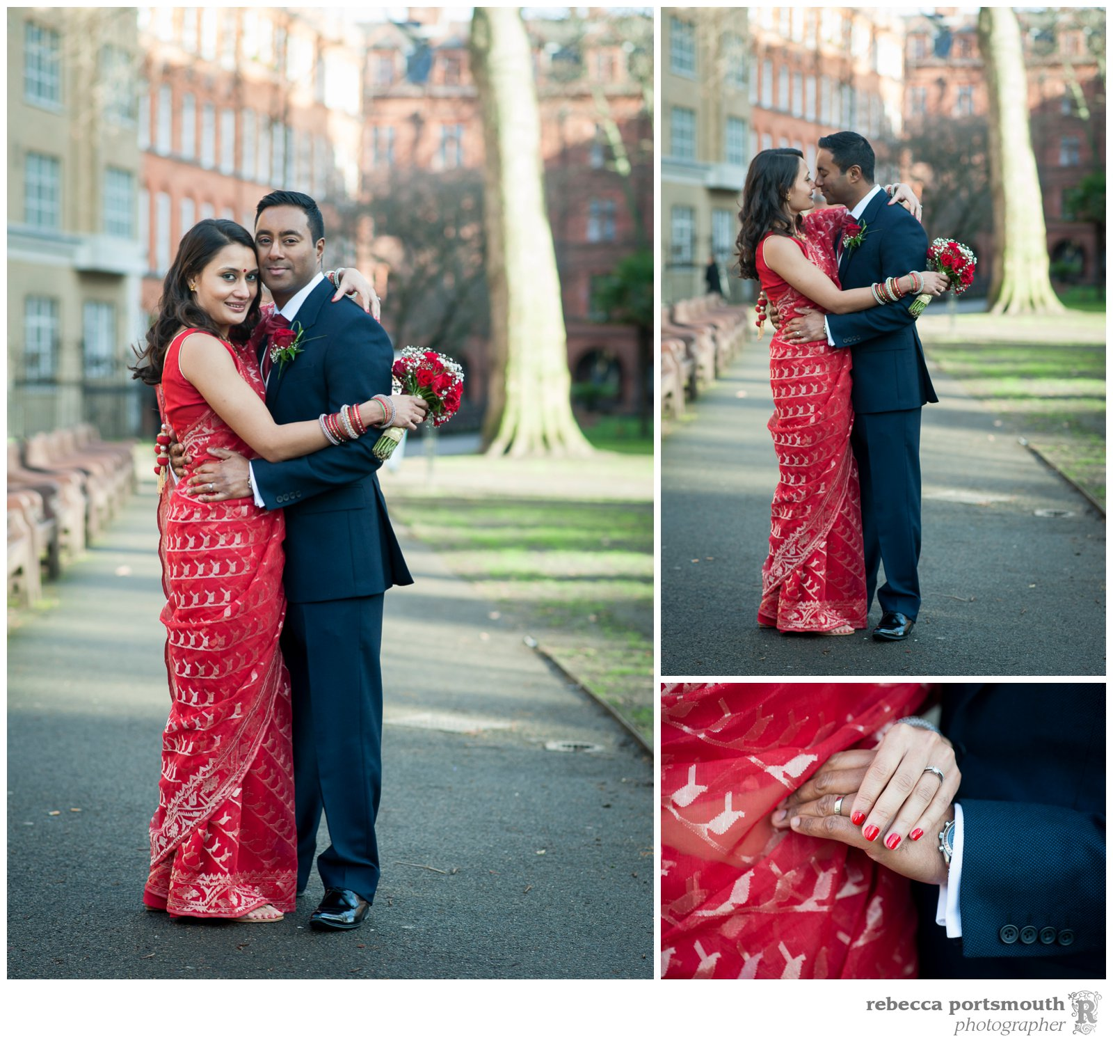 Wedding couple  portraits in Mount Street Gardens after the Mayfair Library wedding of Tas + Ravi next door.