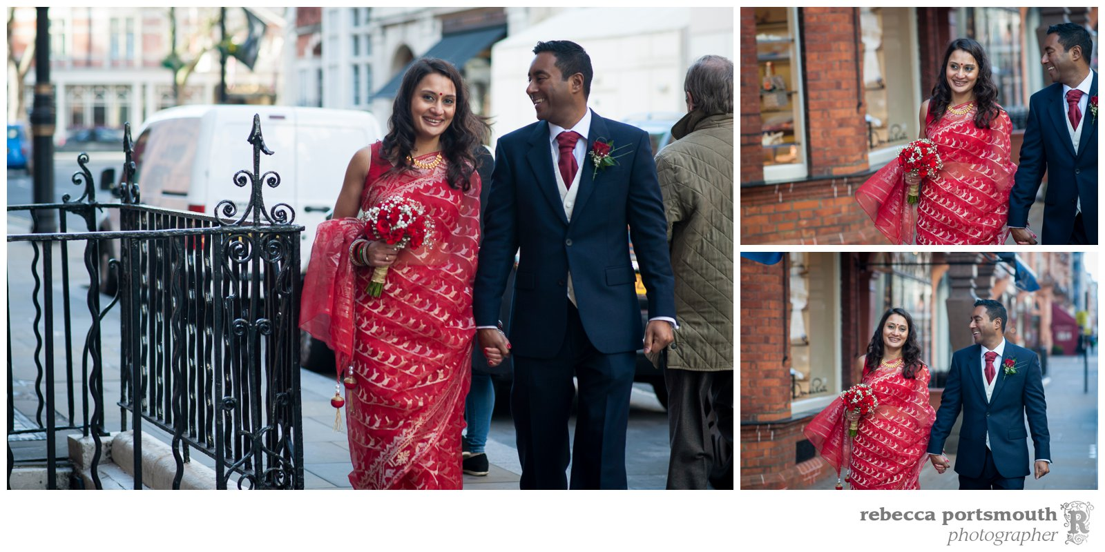 Newly-wedded bride and groom Tas + Ravi stroll through Mount Street and Berkeley Square in London's Mayfair on the way to their wedding breakfast.