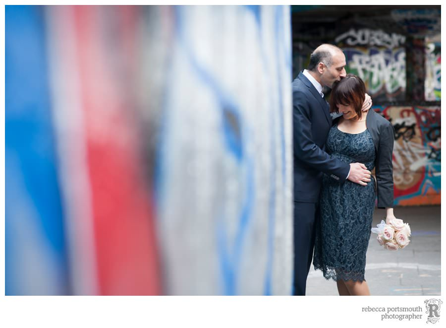 A bride and groom photo on London's South Bank graffitied skate undercroft area