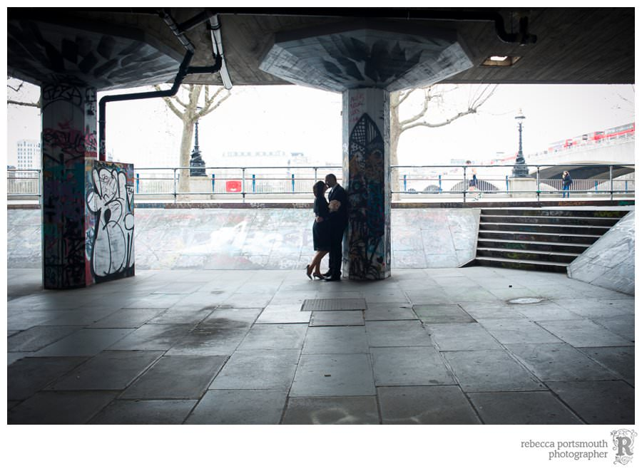 Wedding portraits on London's South Bank in the skate undercroft