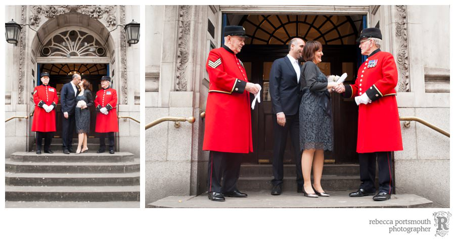 A bride and groom after their Harrington Room wedding with two Chelsea Pensioners on the steps of Chelsea Old Town Hall