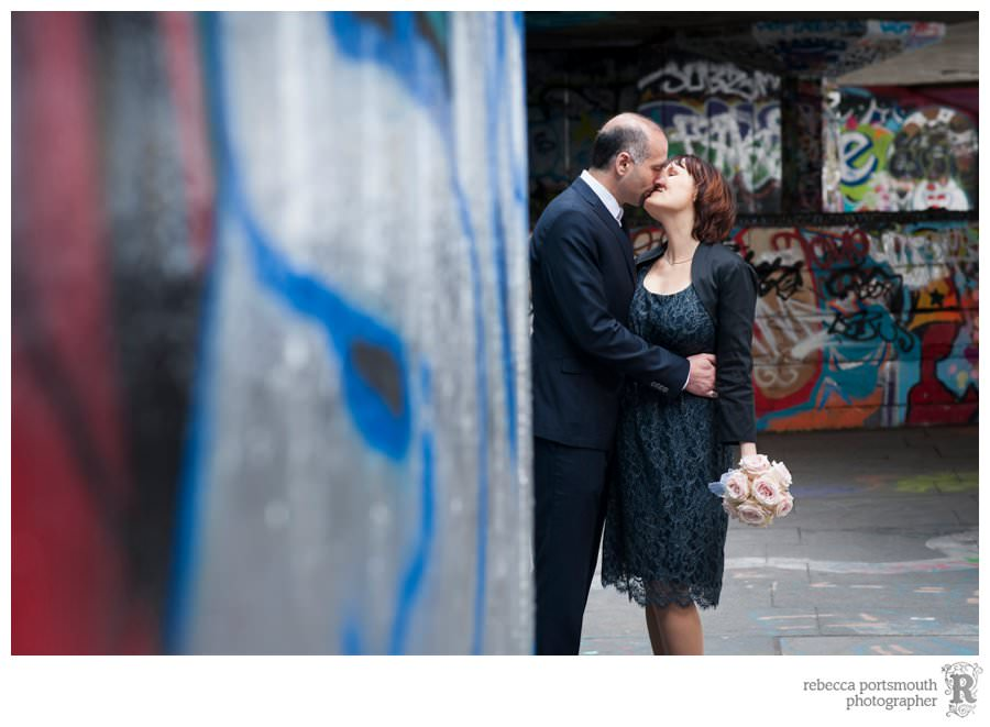Wedding portrait in the skate undercroft on London's South Bank