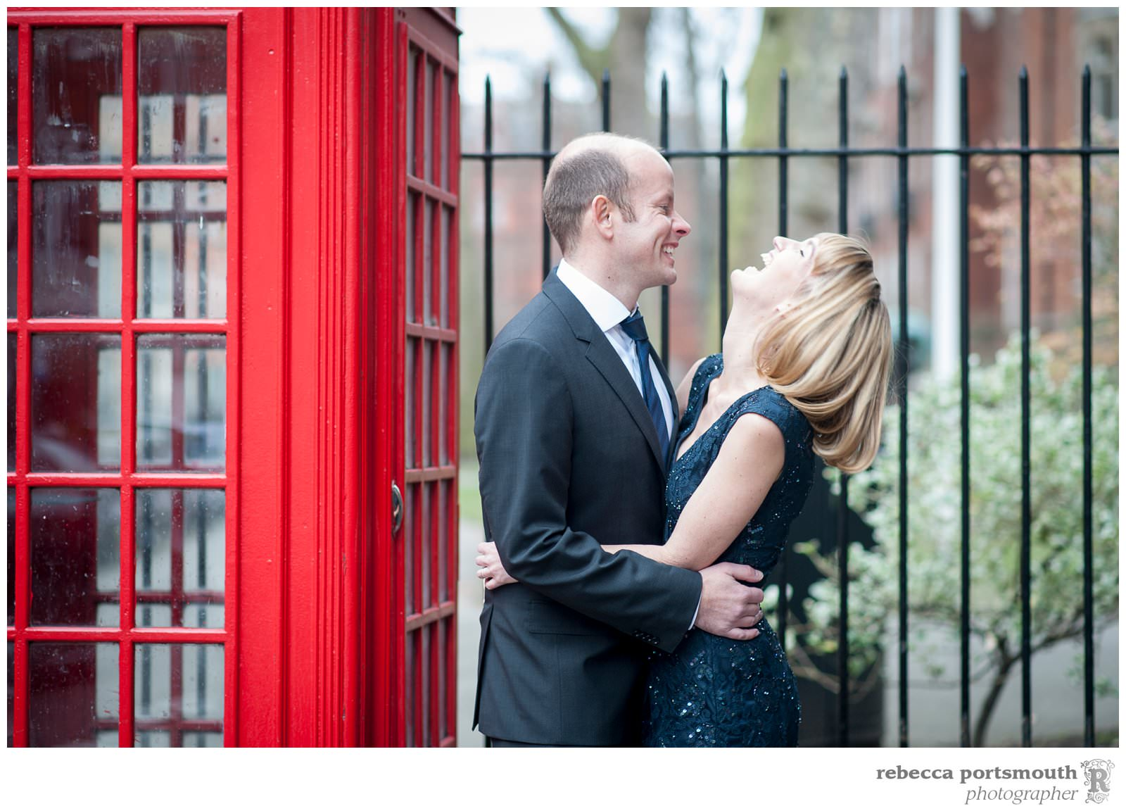 Emma and Chris have portraits at Mount Street Gardens before their London vow renewal at Westminster's Mayfair Library.
