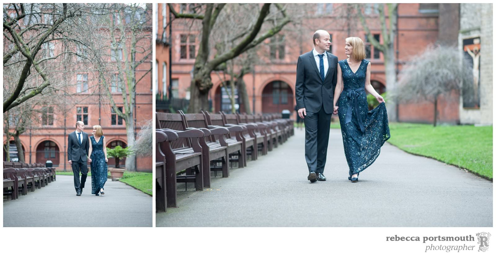 A bride and groom walk through Mount Street Gardens for bridal portraits before their vow renewal in the Marylebone Room, Mayfair Library.