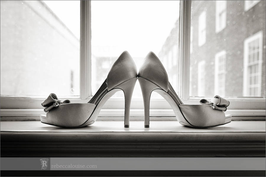 Devonport House wedding preparations: wedding shoes ready for the big day by Star of the Sea Church wedding photographer Rebecca Portsmouth