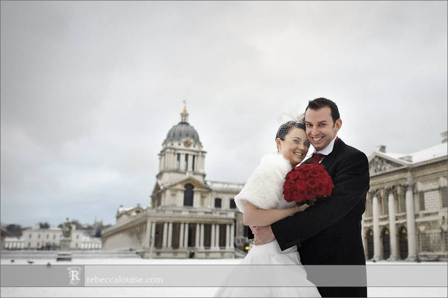 Greenwich Old Royal Naval College (ORNC) winter wedding in the snow - Louise + Charlie with their red and white themed wedding (by Greenwich wedding photographer Rebecca Portsmouth)