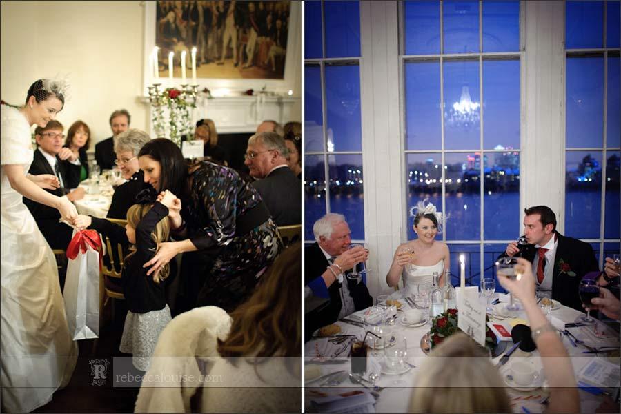 Winter wedding celebrations with a Christmas Theme inside the Trafalgar Tavern, Greenwich