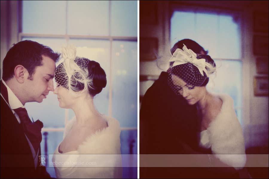 Winter wedding portraits of Louise + Charlie at the Trafalgar Tavern