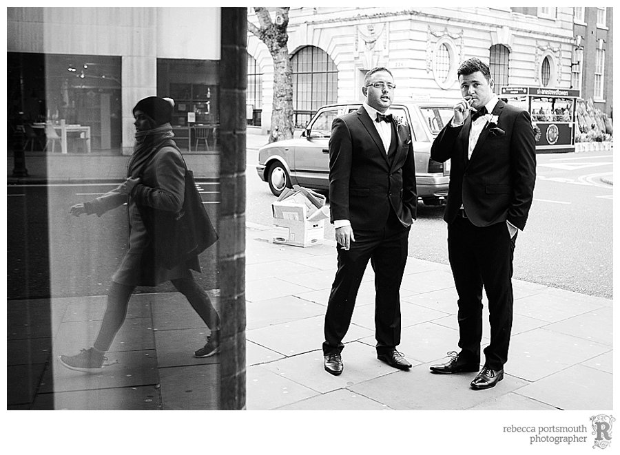 Street photography inspired wedding photos of a groom and his best man on Kings Road, Chelsea, London