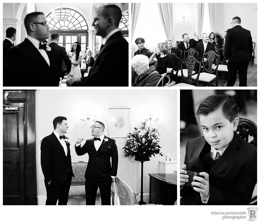 The groom, best man and wedding party wait patiently for the bride to walk into the Brydon Room for their civil wedding ceremony.