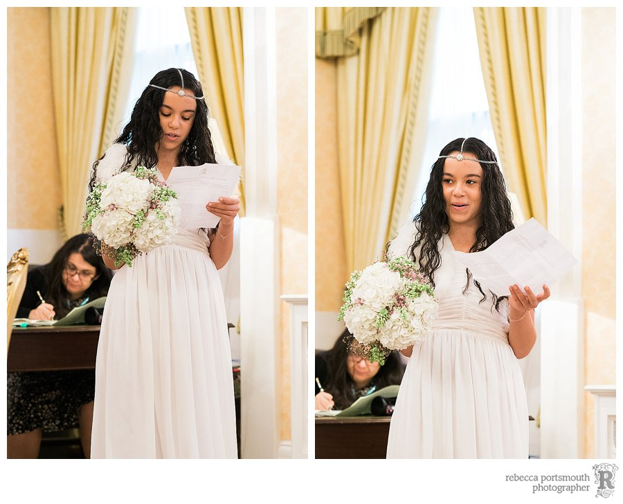 The bridesmaid during her reading at a Brydon Room Civil Wedding ceremony
