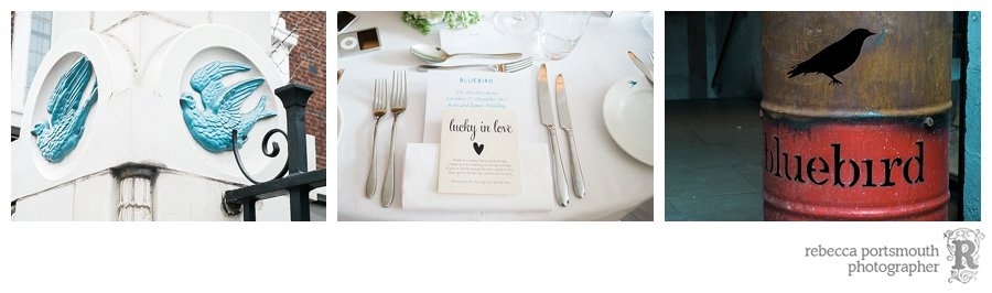 Bluebird Club wedding reception details including a table setting.