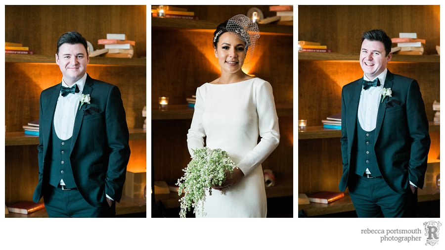 Portraits of the bride and groom at Bluebird Club at the start of their wedding breakfast.